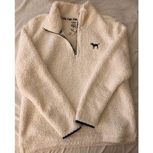 White Sherpa Fleece Pullover